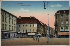 Racibórz. Rynek z ulicą Odrzańską 1918 r.