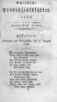 Schlesische Provinzialblätter, 1826, 84. Bd., 10. St.: October