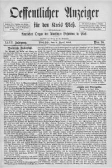 Oeffentlicher Anzeiger für den Kreis Pleß, 1884, Jg. 32, Nro. 28
