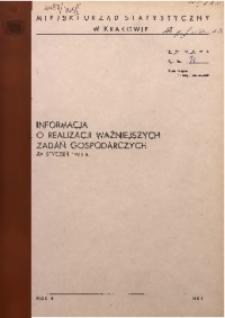 Informacja o realizacji ważniejszych zadań gospodarczych za styczeń 1971 r.