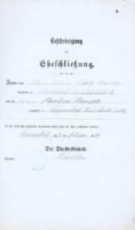 Akt zawarcia małżeństwa z 4.02.1884 r.
