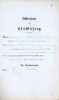 Akt zawarcia małżeństwa z 11.11.1883 r.