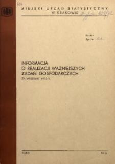 Informacja o realizacji ważniejszych zadań gospodarczych za wrzesień 1972 r.