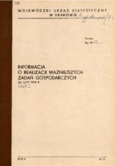 Informacja o realizacji ważniejszych zadań gospodarczych za luty 1973 r., cz. I