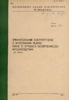 Sprawozdanie statystyczne z wykonania planu oraz o sytuacji gospodarczej wojewdództwa za 1972 r.