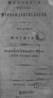 Schlesische Provinzialblätter, 1828, 87. Bd., 1/6. St.: Januar/Juni