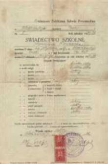Świadectwo ukończenia szkoły : 1 - klasowa Publiczna Szkoła Powszechna.