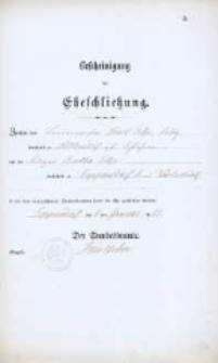 Akt zawarcia małżeństwa z 8.01.1883 r.