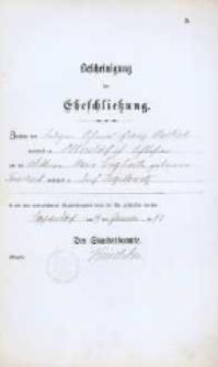 Akt zawarcia małżeństwa z 29.01.1883 r.
