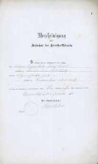 Akt zawarcia małżeństwa z 20.01.1883 r.
