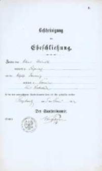 Akt zawarcia małżeństwa z 5.06.1882 r.
