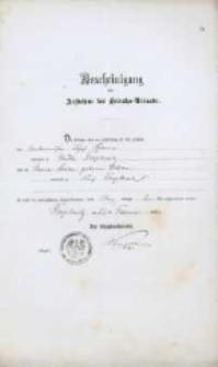 Akt zawarcia małżeństwa z 13.02.1882 r.