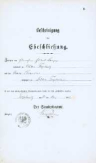 Akt zawarcia małżeństwa z 21.05.1882 r.
