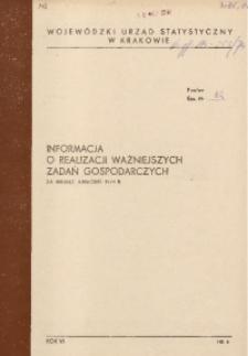 Informacja o realizacji ważniejszych zadań gospodarczych za miesiąc kwiecień 1974 r.