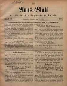 Amts-Blatt der Königlichen Regierung zu Oppeln, 1881, Bd. 66, St. 23