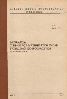Informacja o realizacji ważniejszych zadań społeczno-gospodarczych za wrzesień 1974 r.