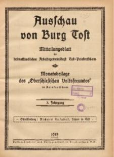 Ausschau von Burg Tost, 1928, Jg. 3, Inhaltsverzeicnis