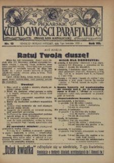 Piekarskie Wiadomości Parafjalne. Organ Ligi Katolickiej, 1935, R. 7, nr 15