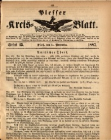 Plesser Kreis-Blatt, 1887, St. 45