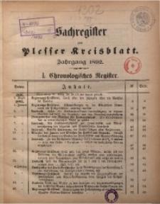 Sachregister zum Plesser Kreisblatt. Jg. 1892