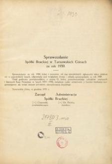 Sprawozdanie Spółki Brackiej w Tarnowskich Górach za rok 1930