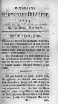 Schlesische Provinzialblätter, 1814, 60. Bd., 11. St.: November