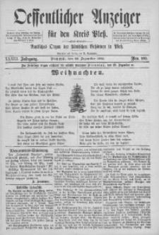 Oeffentlicher Anzeiger für den Kreis Pleß, 1885, Jg. 33, Nro. 102