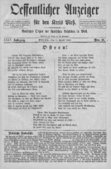 Oeffentlicher Anzeiger für den Kreis Pleß, 1887, Jg. 35, Nro. 28