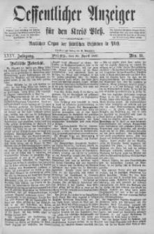 Oeffentlicher Anzeiger für den Kreis Pleß, 1887, Jg. 35, Nro. 33
