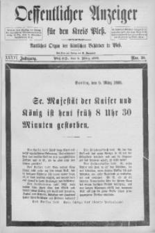 Oeffentlicher Anzeiger für den Kreis Pleß, 1888, Jg. 36, Nro. 20