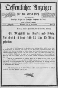 Oeffentlicher Anzeiger für den Kreis Pleß, 1888, Jg. 36, Nro. 48