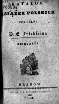 Katalog książek polskich czytelni D. E. Friedleina księgarza