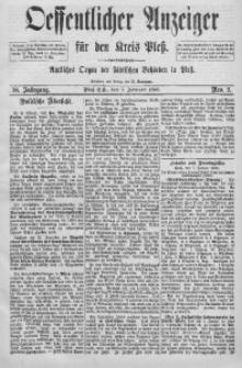 Oeffentlicher Anzeiger für den Kreis Pleß, 1890, Jg. 38, Nro. 2
