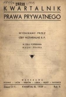 Kwartalnik Prawa Prywatnego, 1939, R. 2, z. 3