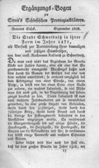 Erganzungs-Bogen zu Streit's Schlesischen Provinzialblattern, 1828, 88. Bd., 9. St.: September