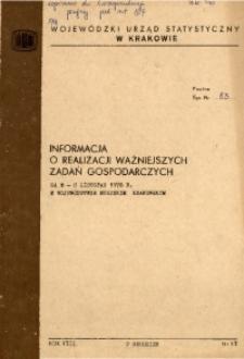 Informacja o realizacji ważniejszych zadań gospodarczych za m-c listopad 1976 r. w województwie miejskim krakowskim