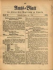 Amts-Blatt der Königlichen Regierung zu Oppeln, 1885, Bd. 70, St. 18