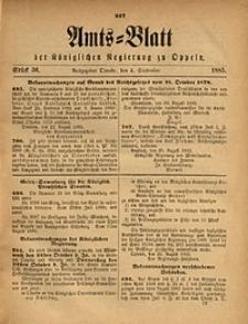 Amts-Blatt der Königlichen Regierung zu Oppeln, 1885, Bd. 70, St. 36