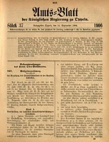 Amts-Blatt der Königlichen Regierung zu Oppeln, 1906, Bd. 91, St. 37