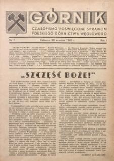 Górnik, 1945, R. 1, nr 1