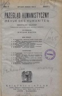 Przegląd Humanistyczny, 1925, R. 4, z. 1