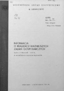 Informacja o realizacji ważniejszych zadań gospodarczych za m-c wrzesień 1979 r. w województwie miejskim krakowskim