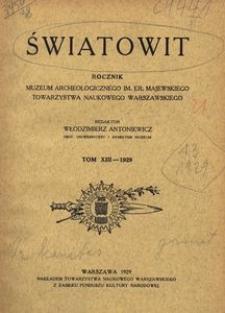 Światowit, 1929, t. 13