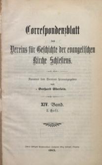 Correspondenzblatt des Vereins für Geschichte der Evangelischen Kirche Schlesiens, Band 14, Heft 2