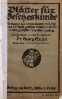 Blätter für Gesetzeskunde, 1922, Jg. 5, Nr 1