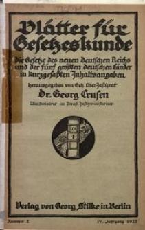 Blätter für Gesetzeskunde, 1922, Jg. 5, Nr 2