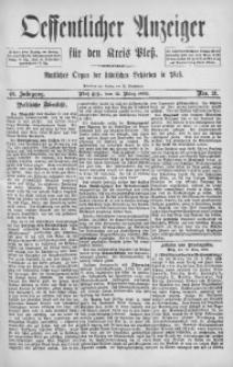 Oeffentlicher Anzeiger für den Kreis Pleß, 1892, Jg. 40, Nro. 21