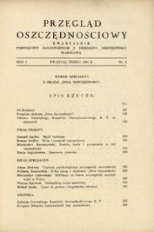 Przegląd Oszczędnościowy. Kwartalnik poświęcony zagadnieniom z dziedziny oszczędności, 1934, R. 1, nr 3