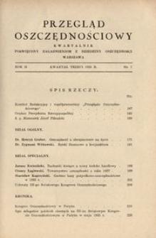 Przegląd Oszczędnościowy. Kwartalnik poświęcony zagadnieniom z dziedziny oszczędności, 1935, R. 2, nr 7