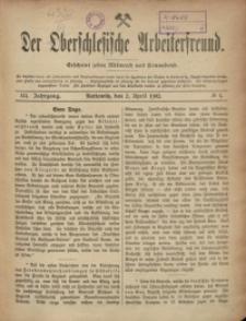 Der Oberschlesische Arbeiterfreund, 1902/1903, Jg. 3, No 1